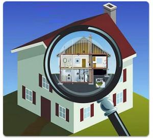 Home Energy Audit Graphic With Magnifying Glass Over A House
